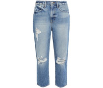 Distressed Faded Boyfriend Jeans Mid Denim  3