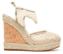 Metallic leather-trimmed embroidered mesh espadrille wedge sandals