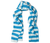Striped angora-blend scarf