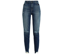 Distressed Faded High-rise Slim-leg Jeans Dark Denim  3