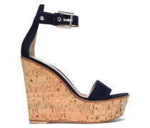 Suede Wedge Sandals Midnight Blue