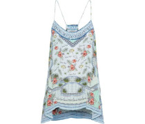 Shades Of Rio Crystal-embellished Printed Silk Crepe De Chine Camisole Mint