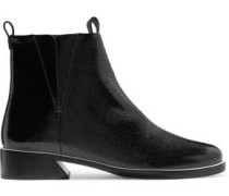 Xandra Patent Textured-leather Ankle Boots Black