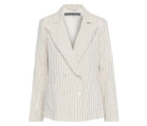 Double-breasted Frayed Striped Cotton Blazer Cream Size 0