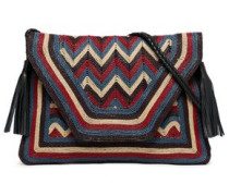 Leather-trimmed Woven Shoulder Bag Multicolor Size --