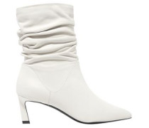 Gathered leather ankle boots