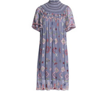 Smocked Embroidered Chiffon Dress Sky Blue