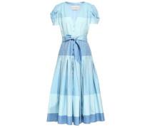Pleated Striped Cotton Midi Dress Light Blue Size 0