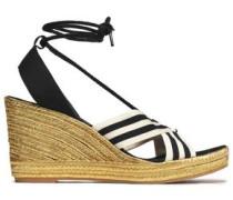 Striped grosgrain wedge espadrille sandals