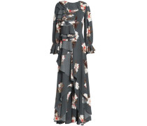 Ruffled floral-print crepe gown