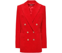 Woman Bianca Double-breasted Cotton-corduroy Blazer Red