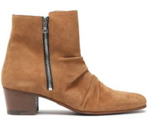 Gathered Suede Ankle Boots Light Brown