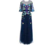 Grosgrain-trimmed Embellished Tulle Gown Navy