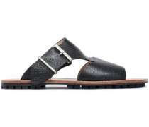 Textured-leather Sandals Black