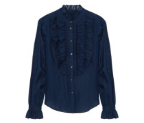 Ruffled cotton and silk-blend voile shirt