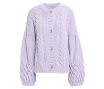 Cynthia Cable-knit Cotton-knit Cardigan Lilac