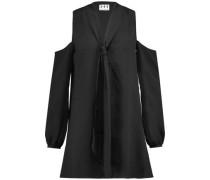 Cold-shoulder tie-neck crepe mini dress