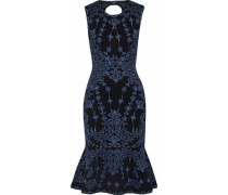 Fluted Jacquard-knit Dress Black