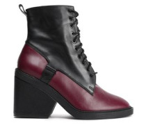 Two-tone Leather Ankle Boots Merlot
