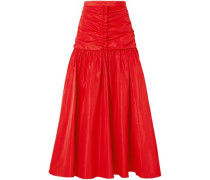 Ruched Taffeta Maxi Skirt Red
