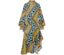 Asymmetric printed silk-jacquard midi dress