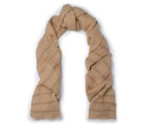 Metallic Striped Gauze Scarf Sand Size --