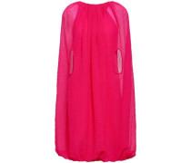 Cape-effect Crinkled Chiffon Mini Dress Magenta