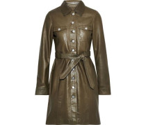 Belted Leather Mini Shirt Dress Army Green