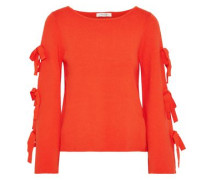 Bow-detailed Mélange Knitted Top Bright Orange