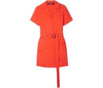 Woman Thandie Belted Button-detailed Stretch-ponte Mini Dress Papaya