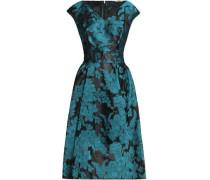 Pleated floral-jacquard dress