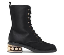 Embellished Twill Ankle Boots Black