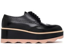 Perforated Leather Platform Brogues Black