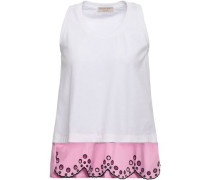 Layered Stretch-cotton Jersey And Broderie Anglaise Poplin Tank White