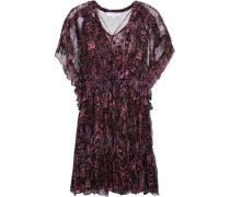 Gilio Ruffled Printed Georgette Mini Dress Fuchsia