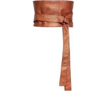 Metallic Pebbled-leather Belt Copper
