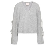 Bow-detailed Wool-blend Sweater Light Gray