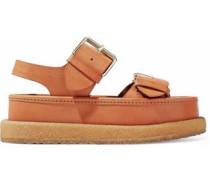 Buckled faux leather platform sandals