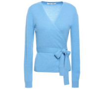 Alaina Wool And Cashmere-blend Wrap Top Light Blue
