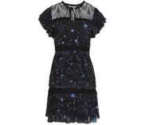Embellished lace-trimmed voile mini dress