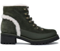 Shearling-trimmed Suede Ankle Boots Forest Green