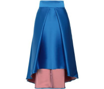 Flared Pleated Duchesse-satin Skirt Cobalt Blue