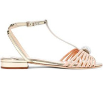 Faux Pearl-embellished Matte And Mirrored-leather Sandals Gold