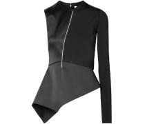 One-sleeve satin and jersey peplum top