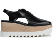 Woman Cutout Faux Glossed-leather Platform Brogues Black