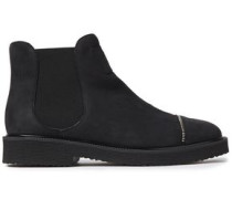 Woman Hilary Zip-embellished Textured-nubuck Ankle Boots Black