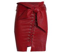 Belted lace-up leather skirt