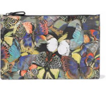 Camubutterfly leather-appliquéd printed canvas clutch