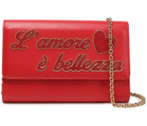Appliquéd Leather Clutch Red Size --