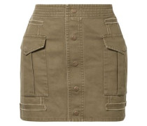 Woman Cotton And Ramie-blend Twill Mini Skirt Army Green